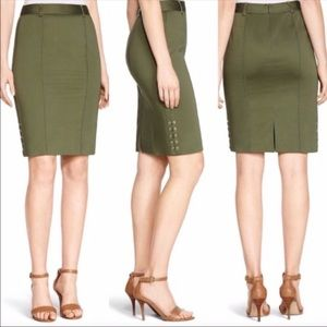 WHBM OLIVE GREEN SATEEN SIDE LACED SKIRT sz 4